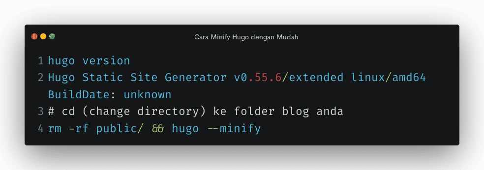 cara minify hugo